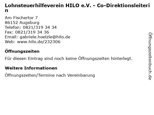 Lohnsteuerhilfeverein HILO e.V. - Co-Direktionsleiterin in Augsburg: Adresse und Öffnungszeiten