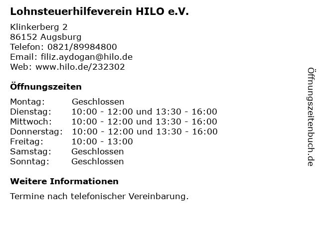 Lohnsteuerhilfeverein HILO e.V. in Augsburg: Adresse und Öffnungszeiten