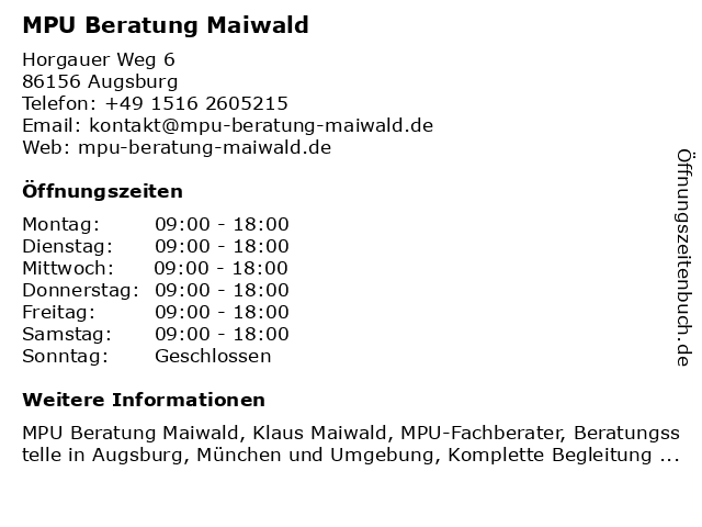MPU Beratung Maiwald in Augsburg: Adresse und Öffnungszeiten