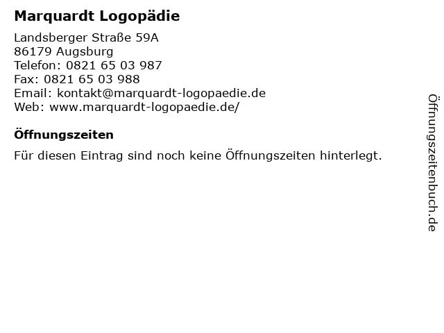 Marquardt Logopädie in Augsburg: Adresse und Öffnungszeiten