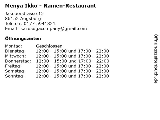 Menya Ikko - Ramen-Restaurant in Augsburg: Adresse und Öffnungszeiten