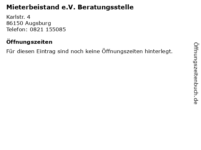 Mieterbeistand e.V. Beratungsstelle in Augsburg: Adresse und Öffnungszeiten