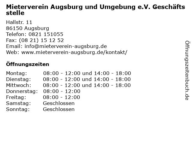 Mieterverein Augsburg und Umgebung e.V. Geschäftsstelle in Augsburg: Adresse und Öffnungszeiten