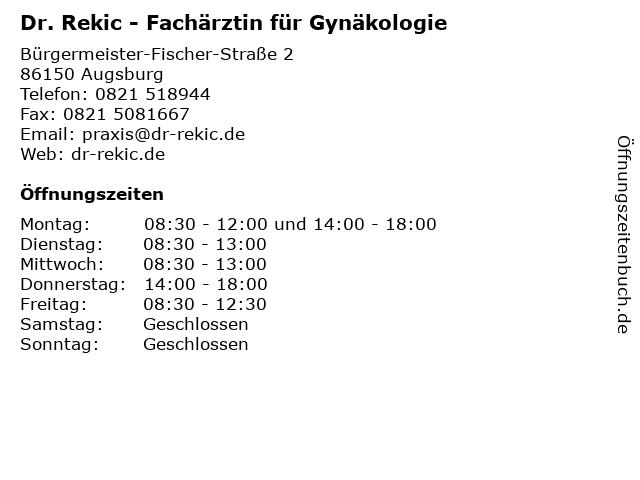 Milka Rekic Milunow - Fachärztin für Gynäkologie in Augsburg: Adresse und Öffnungszeiten