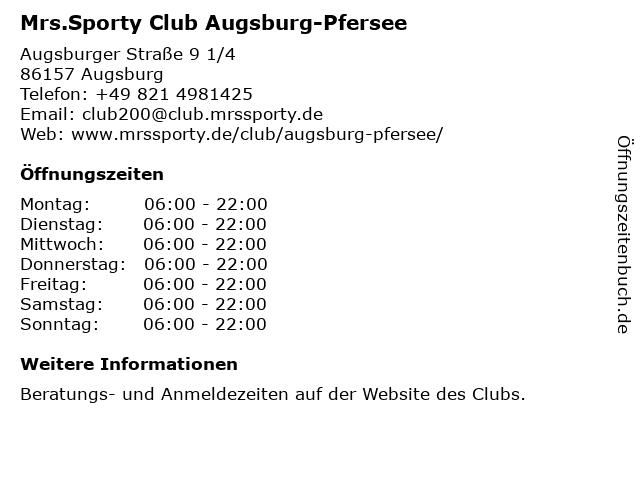 Mrs.Sporty Club Augsburg-Pfersee in Augsburg: Adresse und Öffnungszeiten
