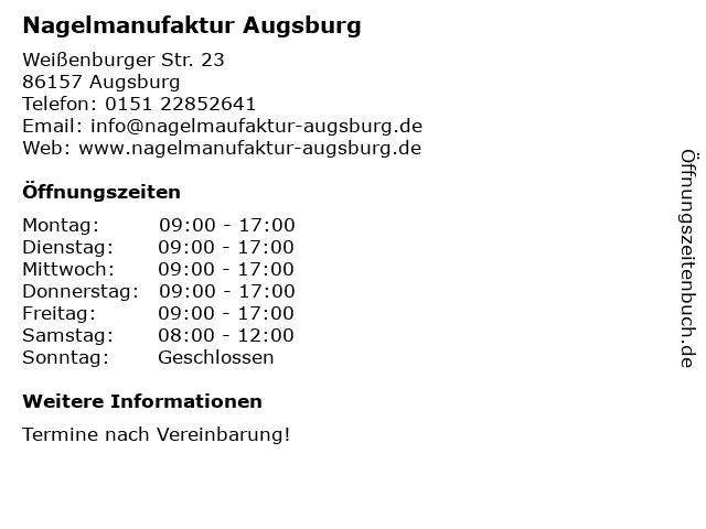 Nagelmanufaktur Augsburg in Augsburg: Adresse und Öffnungszeiten