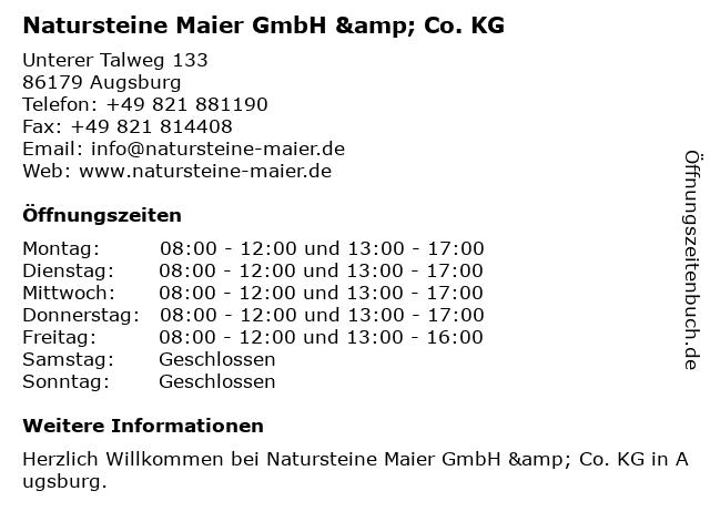 Natursteine Maier GmbH & Co. KG in Augsburg: Adresse und Öffnungszeiten