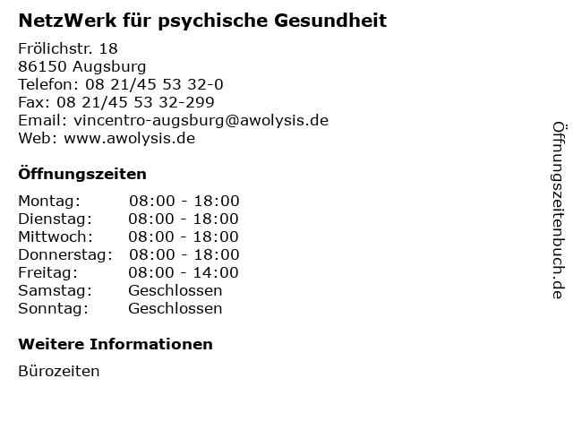 NetzWerk für psychische Gesundheit in Augsburg: Adresse und Öffnungszeiten