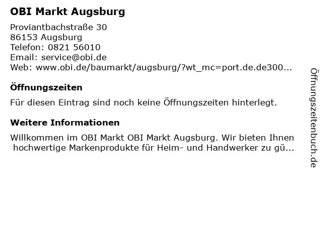OBI Markt Augsburg in Augsburg: Adresse und Öffnungszeiten