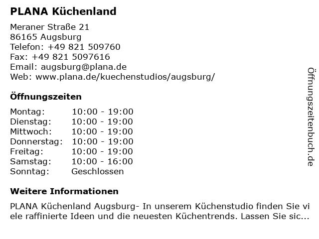"""ᐅ Öffnungszeiten """"PLANA Küchenland Augsburg - Gapp ..."""