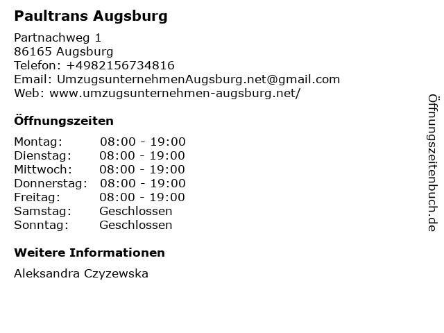 Paultrans Augsburg in Augsburg: Adresse und Öffnungszeiten