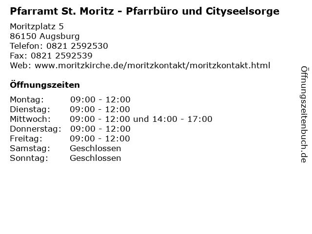 Pfarramt St. Moritz - Pfarrbüro und Cityseelsorge in Augsburg: Adresse und Öffnungszeiten