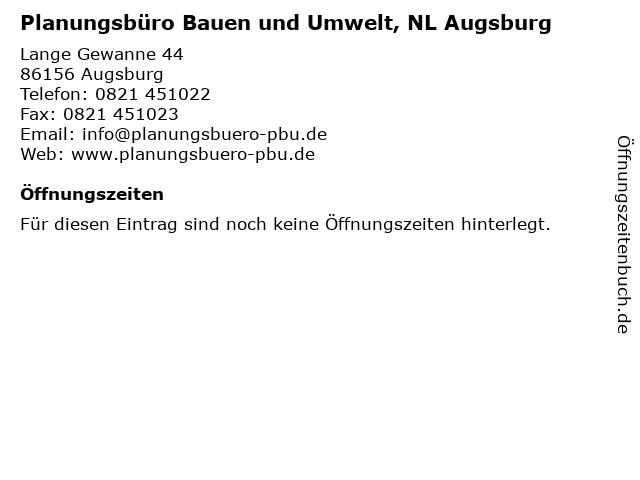Planungsbüro Bauen und Umwelt, NL Augsburg in Augsburg: Adresse und Öffnungszeiten