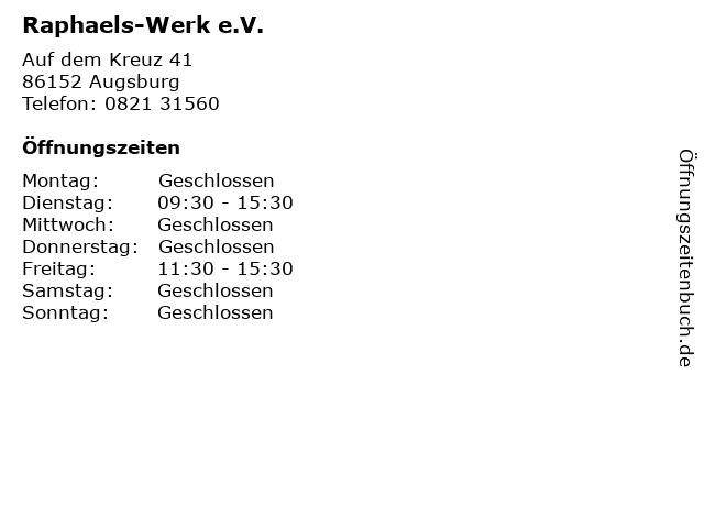Raphaels-Werk e.V. in Augsburg: Adresse und Öffnungszeiten