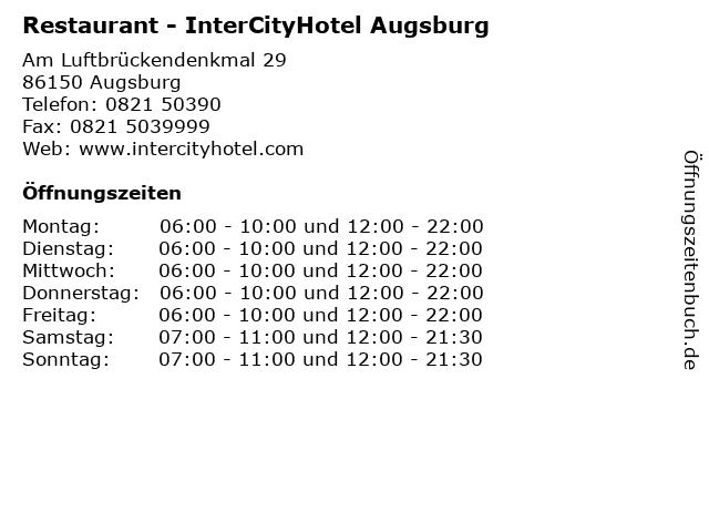 Restaurant - InterCityHotel Augsburg in Augsburg: Adresse und Öffnungszeiten