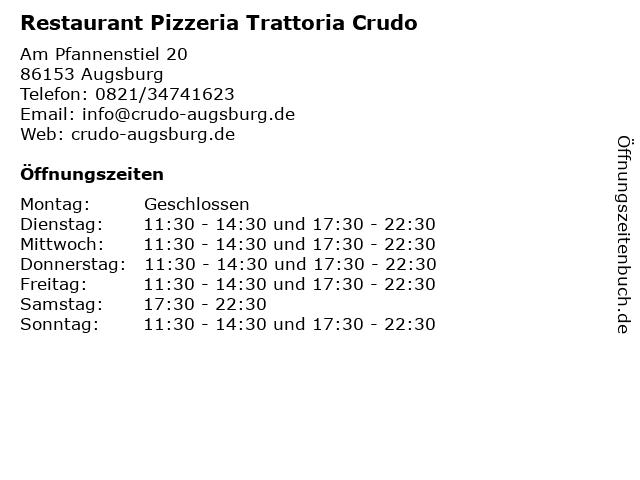 Restaurant Pizzeria Trattoria Crudo in Augsburg: Adresse und Öffnungszeiten