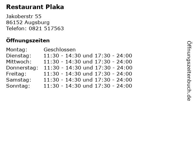 Restaurant Plaka in Augsburg: Adresse und Öffnungszeiten