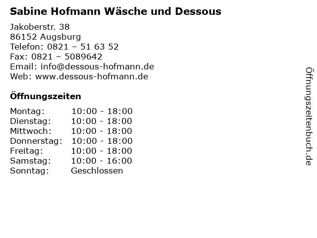 Sabine Hofmann Wäsche und Dessous in Augsburg: Adresse und Öffnungszeiten