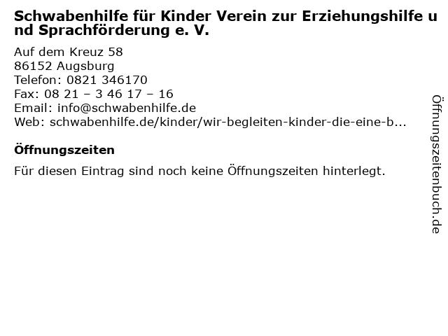 Schwabenhilfe für Kinder Verein zur Erziehungshilfe und Sprachförderung e. V. in Augsburg: Adresse und Öffnungszeiten