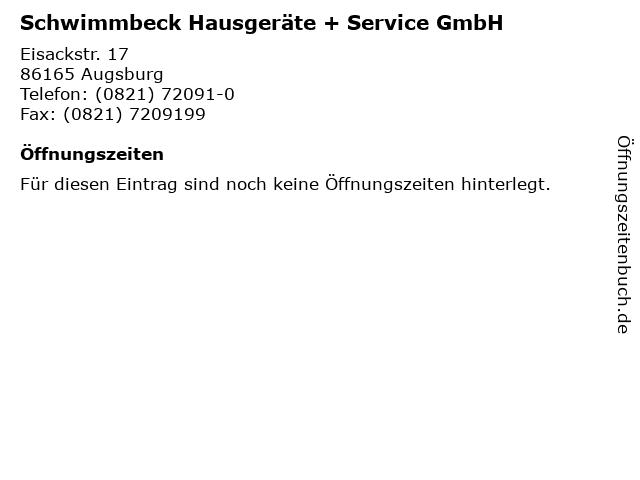 Schwimmbeck Hausgeräte + Service GmbH in Augsburg: Adresse und Öffnungszeiten