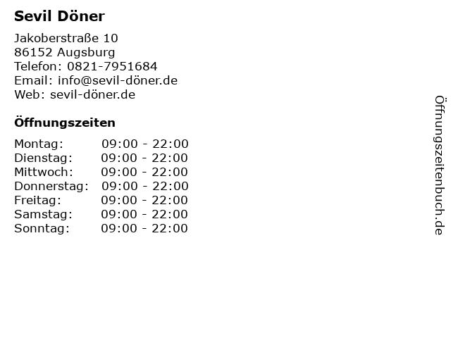 Sevil Döner in Augsburg: Adresse und Öffnungszeiten