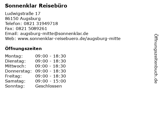 Sonnenklar Reisebüro in Augsburg: Adresse und Öffnungszeiten