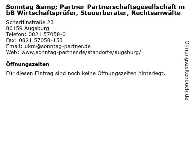 Sonntag & Partner Partnerschaftsgesellschaft mbB Wirtschaftsprüfer, Steuerberater, Rechtsanwälte in Augsburg: Adresse und Öffnungszeiten
