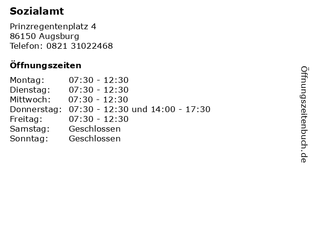 Sozialamt in Augsburg: Adresse und Öffnungszeiten