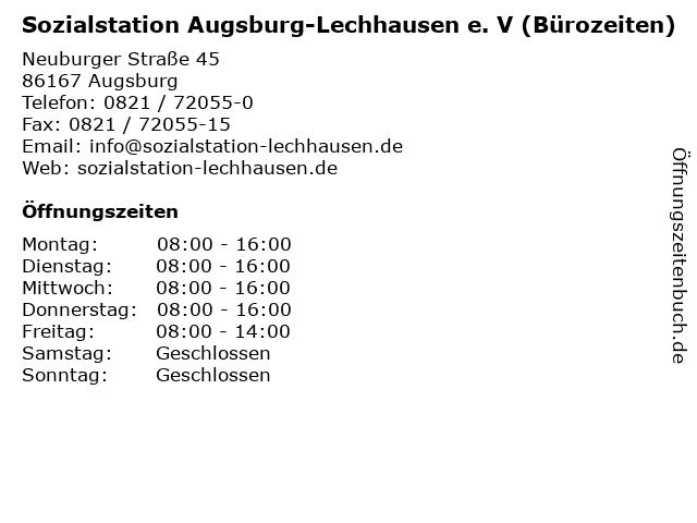 Sozialstation Augsburg-Lechhausen e. V (Bürozeiten) in Augsburg: Adresse und Öffnungszeiten