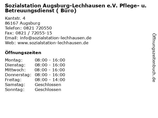 Sozialstation Augsburg-Lechhausen e.V. Pflege- u. Betreuungsdienst ( Büro) in Augsburg: Adresse und Öffnungszeiten