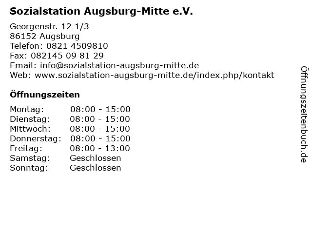 Sozialstation Augsburg-Mitte e.V. in Augsburg: Adresse und Öffnungszeiten