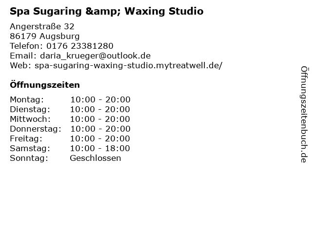 Spa Sugaring & Waxing Studio in Augsburg: Adresse und Öffnungszeiten