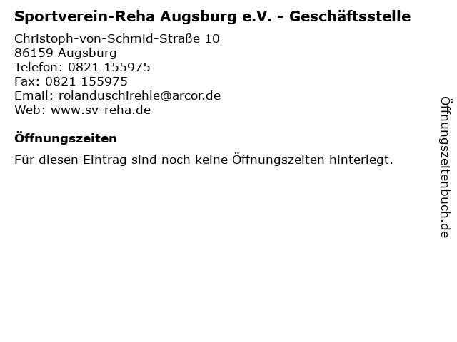Sportverein-Reha Augsburg e.V. - Geschäftsstelle in Augsburg: Adresse und Öffnungszeiten