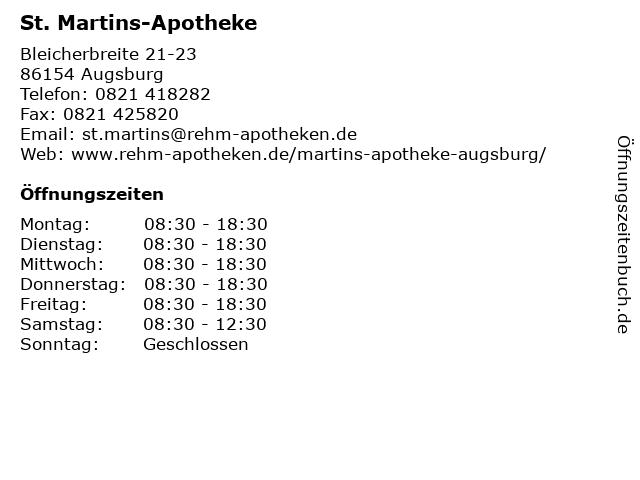 St. Martins-Apotheke in Augsburg: Adresse und Öffnungszeiten