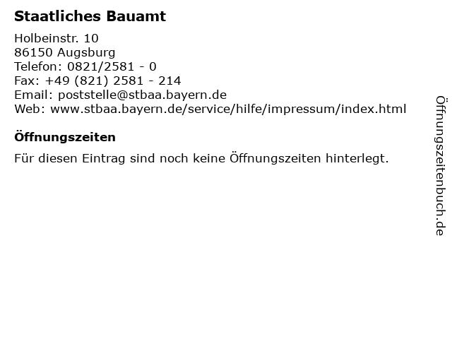 Staatliches Bauamt in Augsburg: Adresse und Öffnungszeiten