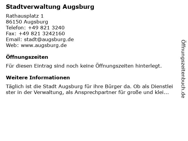Stadtverwaltung Augsburg in Augsburg: Adresse und Öffnungszeiten