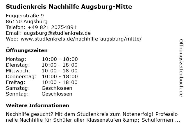 Studienkreis Nachhilfe Augsburg-Mitte in Augsburg: Adresse und Öffnungszeiten