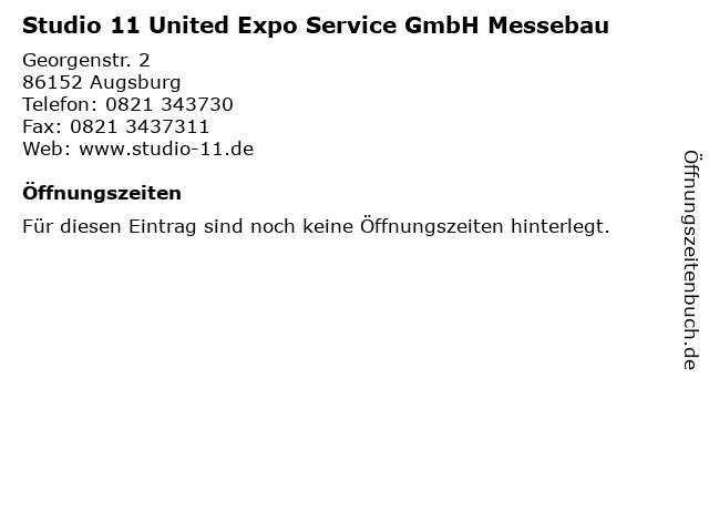Studio 11 United Expo Service GmbH Messebau in Augsburg: Adresse und Öffnungszeiten