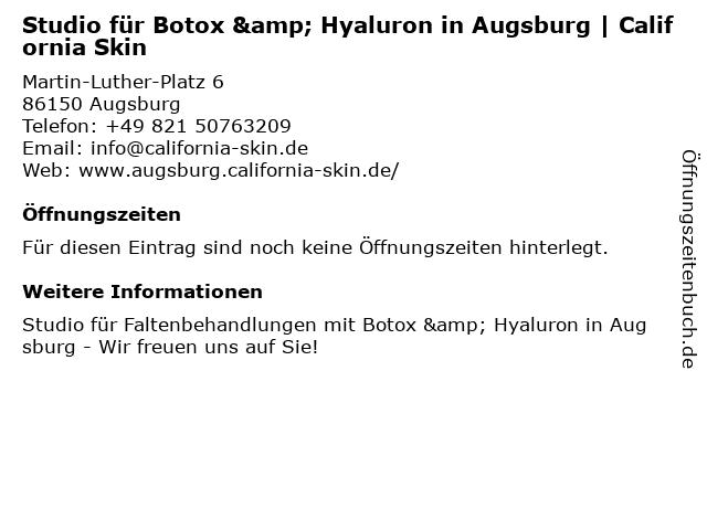 Studio für Botox & Hyaluron in Augsburg | California Skin in Augsburg: Adresse und Öffnungszeiten