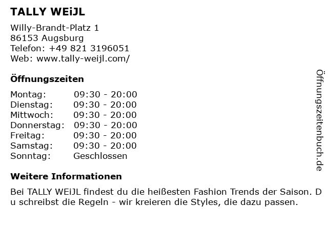 Tally Weijl Deutschland GmbH in Augsburg: Adresse und Öffnungszeiten
