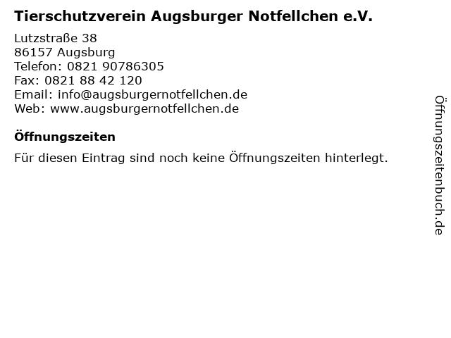 Tierschutzverein Augsburger Notfellchen e.V. in Augsburg: Adresse und Öffnungszeiten
