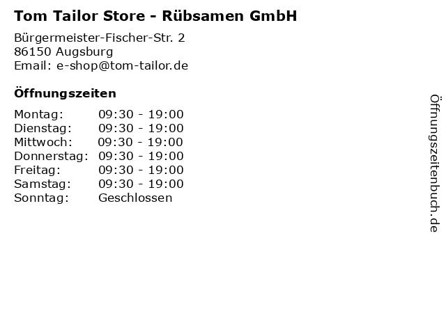 Tom Tailor Store - Rübsamen GmbH in Augsburg: Adresse und Öffnungszeiten