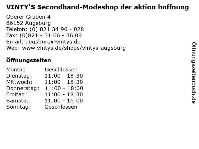 VINTY'S Secondhand-Modeshop der aktion hoffnung in Augsburg: Adresse und Öffnungszeiten
