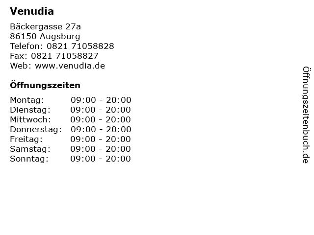 Venudia in Augsburg: Adresse und Öffnungszeiten