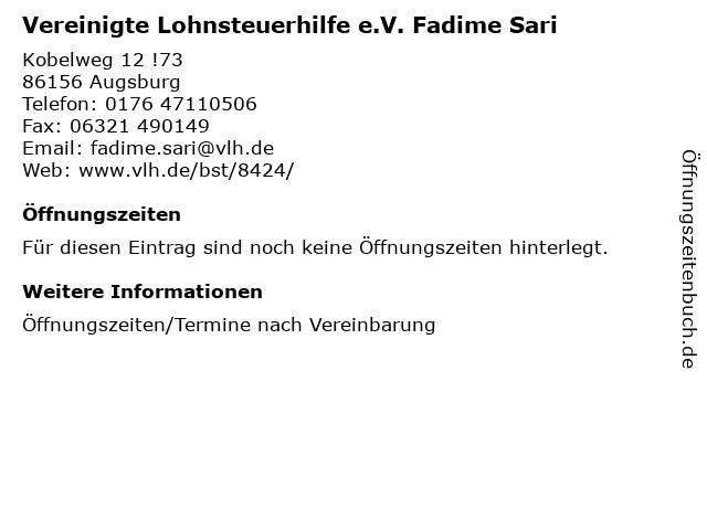 Vereinigte Lohnsteuerhilfe e.V. Fadime Sari in Augsburg: Adresse und Öffnungszeiten
