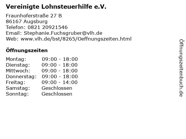 Vereinigte Lohnsteuerhilfe e.V. in Augsburg: Adresse und Öffnungszeiten