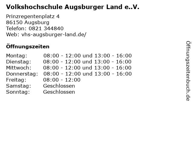 Volkshochschule Augsburger Land e..V. in Augsburg: Adresse und Öffnungszeiten