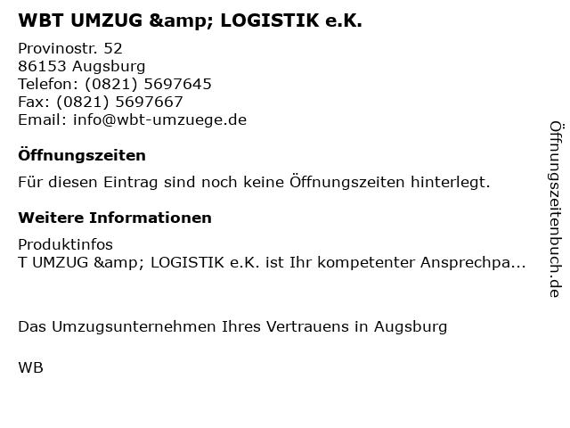 ᐅ Offnungszeiten Wbt Umzug Logistik E K Provinostr 52 In
