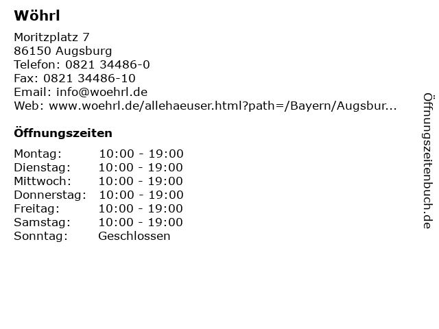 Wöhrl in Augsburg: Adresse und Öffnungszeiten