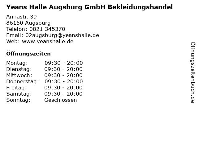 Yeans Halle Augsburg GmbH Bekleidungshandel in Augsburg: Adresse und Öffnungszeiten